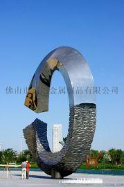 定制大型不锈钢镜面抽象水波纹雕塑 广场公园景观摆件