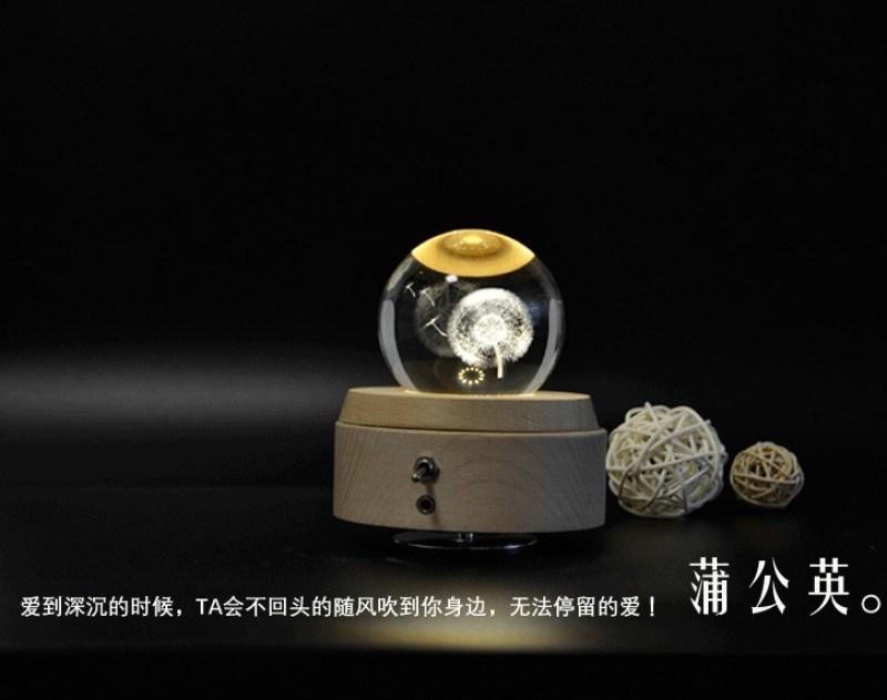 音乐盒水晶灯小夜灯实木音乐盒浪漫礼品