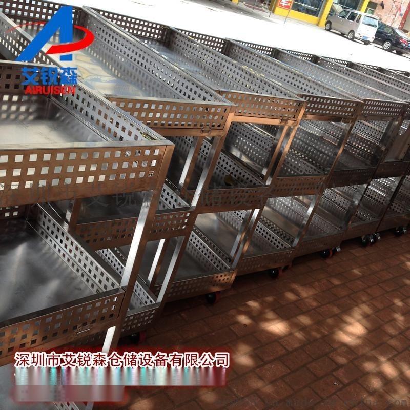车间物料搬运车-三层不锈钢推车-不锈钢周转车艾锐森直供