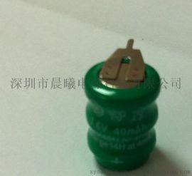 供应 镍氢电池 40mAh  3.6V   带焊脚镍氢扣式电池