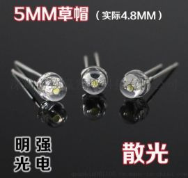致赢批发LED发光二极管5MM草帽白灯7-8LM