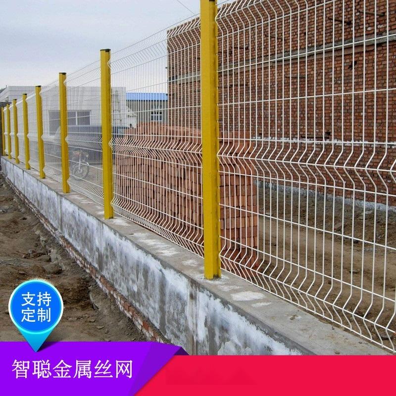 厂房围墙钢丝网厂家@绿色围墙网护栏@三角折弯护栏网