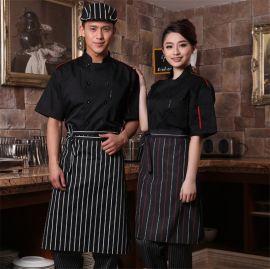 韩式厨师围裙半身酒店餐厅厨房厨师防水围裙定制短款厨师围腰男女