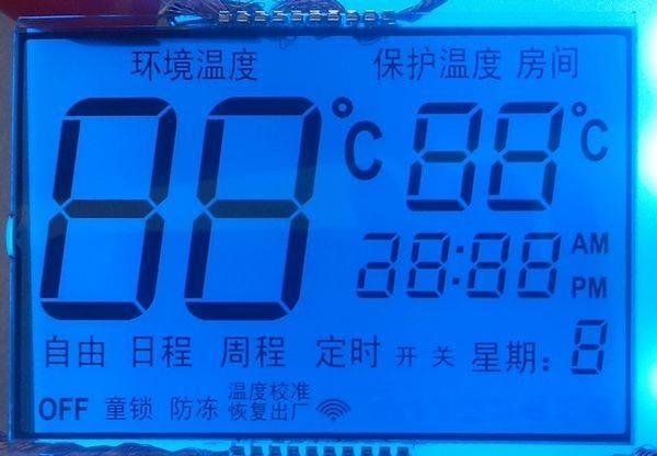 温控器LCD 屏,笔段式液晶屏,风机盘管