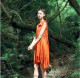 原创实拍纯色森女连衣裙 宽松大码棉麻女装