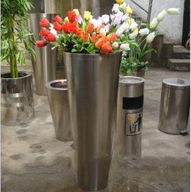 定做不锈钢酒店花盆装饰摆件 家居 办公室绿化不锈钢锥形大花瓶