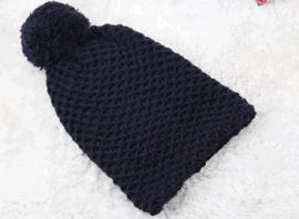 女士蜂窩針帽子圍巾兩功能帶球針織帽