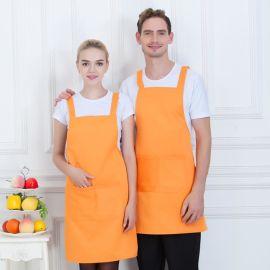 餐厅咖啡服务员美容美甲挂脖围裙围腰定制印绣字