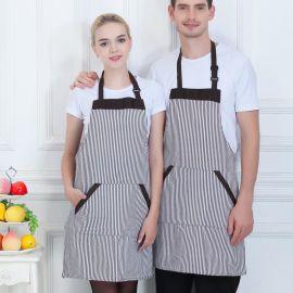 厨师工作服挂脖围裙西餐厅咖啡厅甜品披萨店工装围裙