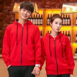 春秋款時尚男女韓版毛圈開衫連帽拉鏈配色衛衣團體工服定制logo