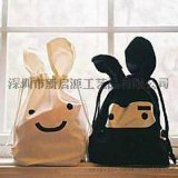 可愛小兔子包包 創意兔子頭購物袋 卡通型摺疊環保購物袋