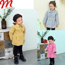 韩版中小**时尚纯色腰间系带双排扣两件外套 秋款潮流童装风衣