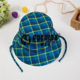 歐美系男童繫帶格子帽 秋季新品盆帽男女兒童雙層夏季遮陽漁夫帽
