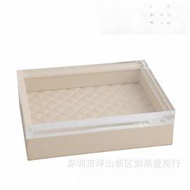 米白色正长方形超纤皮亚克力合金首饰盒饰品欧式创意客厅卧室摆件