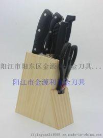 阳江菜刀木座不锈钢礼品刀具八件套好厨娘
