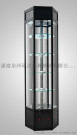 福建展柜玻璃柜台精品钛合金展架样品展览展示柜