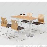 廠家定製不鏽鋼腳防火板座椅板帶軟包快餐桌椅