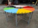 廠家定製木質桌面噴塗腳可組合拼接圓形學生彩色課桌椅