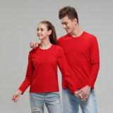 秋冬季長袖廣告衫純色圓領T恤彈力加厚平紋男女通用款定製LOGO