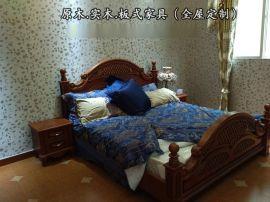 重庆原木家具厂专业定做楸木|美国红橡原木|橡胶木单/双人床
