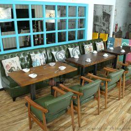 咖啡厅沙发 靠墙卡座 西餐厅茶餐厅简约北欧沙发桌椅组合