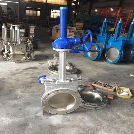 明桿傘齒輪刀型閘閥不銹  閘閥DN300刀型閘閥