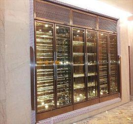 酒店别墅恒温恒湿酒窖设计 不锈钢恒温酒柜 酒架 珠宝柜定制厂家