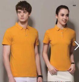 定制夏裝短袖長絨棉翻領純色情侶T恤光板體恤男女廣告POLO衫灰色