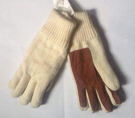 女式厚实保暖全指针织全掌麂皮绒贴皮手套