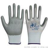 星宇劳保手套 厂家直销N558丁灰吊卡丁腈浸胶手套 耐磨防油耐酸碱