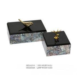 正方形鲍鱼贝壳金色鹿头鹿仔铜鸟木质饰品盒首饰盒软装工艺品摆件