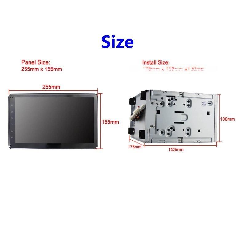 安卓6.0高清全触摸屏汽车车载DVD通用机,厂家直销10.1寸双锭车载DVD大屏机