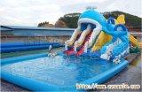 福建泉州小型水上樂園充氣游泳池章魚水滑梯