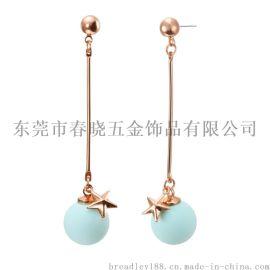 香港饰品厂家耳环批发|女韩版时尚水滴星星珍珠长款925纯银耳环