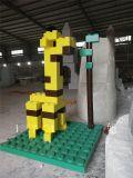 積木拼接造型製作玻璃鋼抽象長頸鹿鯊魚雕塑