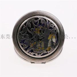 便攜化妝鏡 復古雙面折疊鏡 仿古銅小鏡子