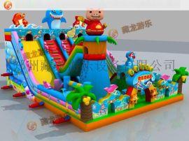 哪里有生产充气滑梯蹦床的厂家,郑州藏龙充气大滑梯,结实耐用的充气城堡