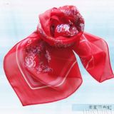 客家花布红丝巾(S-011)