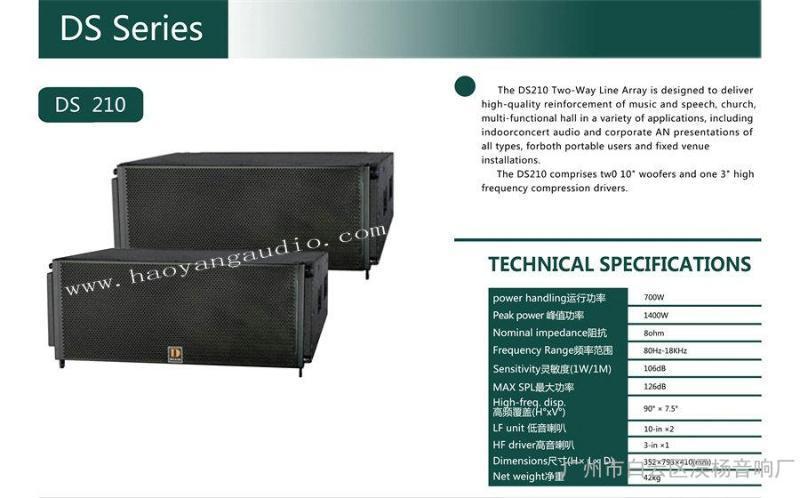 供应DS210线阵音箱 双10寸线阵音响 舞台系列音箱 线阵音响厂家