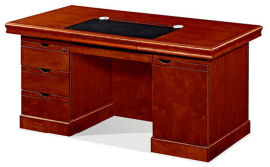 1421款1.4米油漆辦公桌 胡桃木皮綠色環保家具