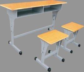 学生**双人课桌凳 批发校用课桌椅 钢木升降课桌椅