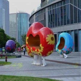 广场雕塑 心形装饰凳子 玻璃钢异形抽象光面烤漆雕塑美陈凳子定制