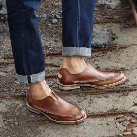 头层牛皮英伦男士皮鞋个性潮鞋男夏季透气一脚蹬懒人鞋套脚男鞋子
