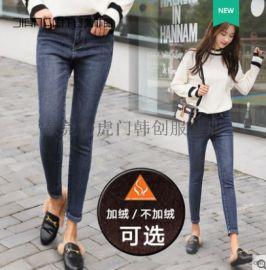 广州牛仔裤库存尾货杂款女士铅笔裤棉弹牛仔裤清