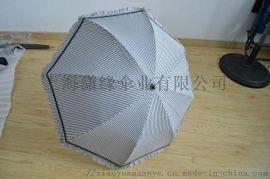 防紫外线色胶布面料碳纤维伞架经典条纹图案小巧花边设计编藤设计手柄