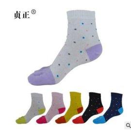 贞正五指袜女纯棉四季新款中厚中筒全棉圆点可爱甜美舒适分趾袜