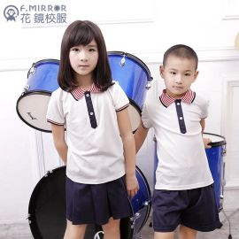 F.MIRROR花镜夏季中小学生校服幼儿园园服翻领短袖套装定制