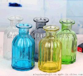 竖条纹玻璃花瓶,插花瓶,彩色玻璃花瓶