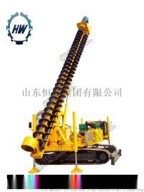 山东恒旺长螺旋钻机一次8米光伏孔打桩机