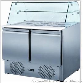 沙拉柜|弧形玻璃展示柜|不锈钢冰柜卧式调理柜